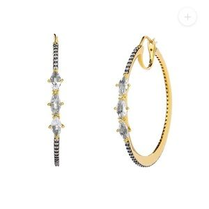 Nadri COMO WHITE TOPAZ AND CZ HOOP